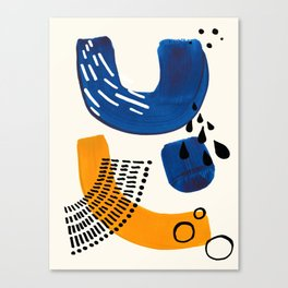 Fun Colorful Abstract Mid Century Minimalist Navy Blue Yellow Organic Shapes Water Drops Patterns Canvas Print