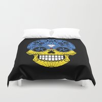 ukraine Duvet Covers featuring Sugar Skull with Roses and Flag of Ukraine by Jeff Bartels