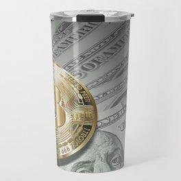 Bitcoin with dollar bills, cryptocurrency concept Travel Mug