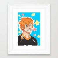 haikyuu Framed Art Prints featuring Hinata Haikyuu!! by Dreki