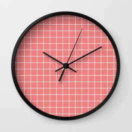 Light coral - pink color - White Lines Grid Pattern Wall Clock