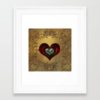 hearts Framed Art Prints featuring Hearts by nicky2342