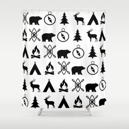 Outdoor Icon Pattern Shower Curtain