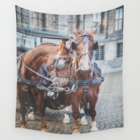 horses Wall Tapestries featuring Horses by Katerina Lesslerova