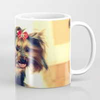 yorkie Mugs featuring D's Yorkie puppy by Irène Sneddon