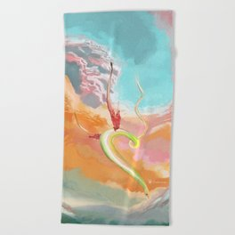 Fantasy Dragon and Clouds Beach Towel