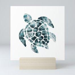 Sea Turtle - Turquoise Ocean Waves Mini Art Print