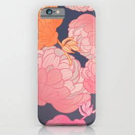 Pink romantic peony pattern on grey background digital illustration  iPhone Case