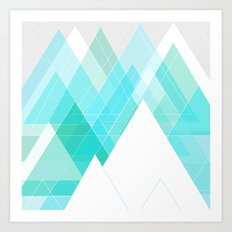 Icy Grey Mountains Art Print