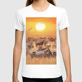 Wild zebras and antelopes in the African savannah towards sunset T-shirt
