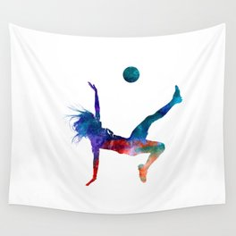 Woman soccer player 08 in watercolor Wall Tapestry