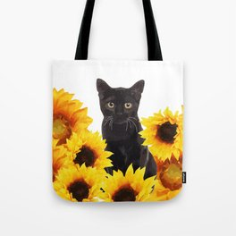 Sunflower Black Cat Tote Bag