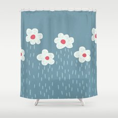 Rainy Flowery Clouds Shower Curtain