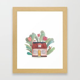 Floral house watercolor Framed Art Print