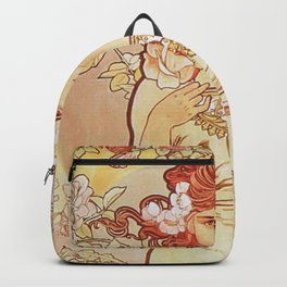 Rose by Alphonse Mucha 1897 // Vintage Girl with Red Hair Floral Love Design Backpack