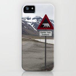 Polar bears traffic sign in Svalbard iPhone Case