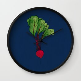 Red Beet with Blue Background Wall Clock