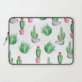 Pot plants with Cacti Pattern // Modern watercolor plants design Laptop Sleeve