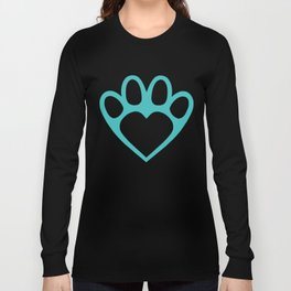 Paw Prints on my Heart - in Cyan Long Sleeve T-shirt