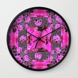 Rose Pink Rubies Gemstone July Birthstone Art Wall Clock
