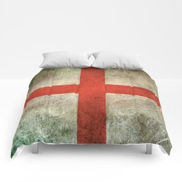 Old and Worn Distressed Vintage Flag of England Comforters