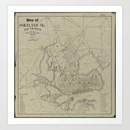 Vintage Map of Portland Maine (1902) Art Print