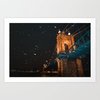 A Snowy Night In The City Art Print