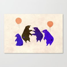 A sleepy bear party Canvas Print