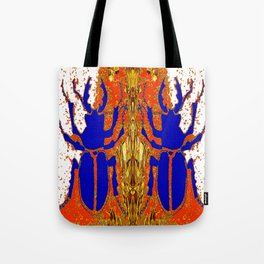 Lapis Blue Beetle on Gold Tote Bag