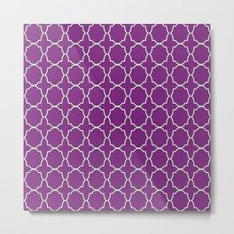 Purple Quatrefoil Pattern Metal Print
