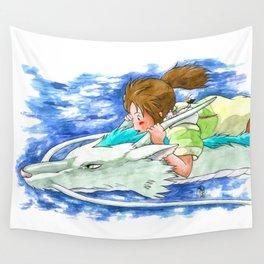 Ghibli Spirited Away Sky Illustration Wall Tapestry