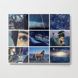 Navy Blue with Stars Moodboard Metal Print