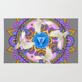BLUE CHAKRA MANDALA WITH WHITE DOVES& PURPLE-GREY ART Rug