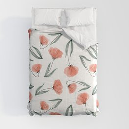 Spring Flowers Peach tossed pattern Comforters