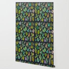 Cactus Pattern Watercolor at Night Wallpaper