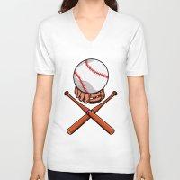 baseball V-neck T-shirts featuring Baseball by mailboxdisco