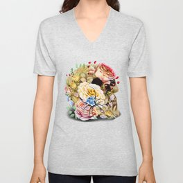 floral skull with special spider Unisex V-Neck