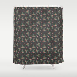 Christmas Mistletoe On Black Decor Shower Curtain