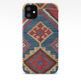 Vintage Woven Kilim // 19th Century Colorful Royal Blue Yellow Authentic Classic Ornate Accent Patte iPhone Case