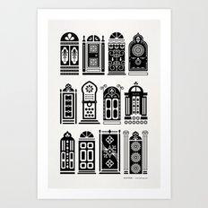 Moroccan Doors – Black Palette Art Print