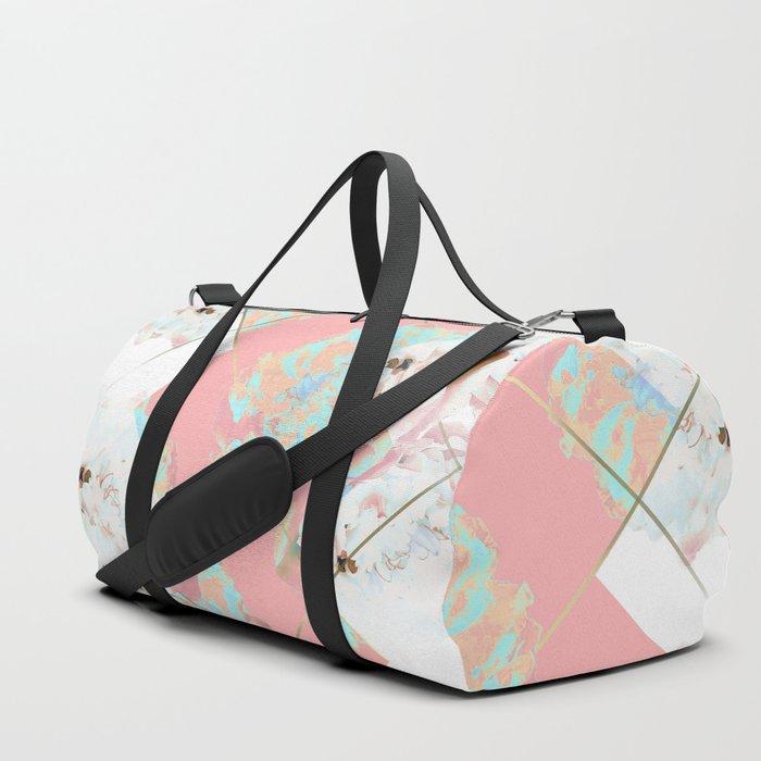 Abstract Blush Geometric Peonies Flowers Design Duffle Bag