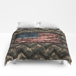 Digital Camo Patriotic Chevrons American Flag Comforters