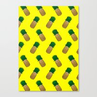 pineapples Canvas Prints featuring Pineapples by Ella Lama
