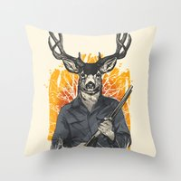 hunting Throw Pillows featuring Hunting Season by Niel Quisaba
