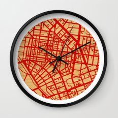 Map of the Town Wall Clock