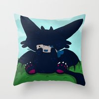 toothless Throw Pillows featuring Toothless by DaemonDeDevil