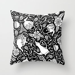 Tea Time Black and White Throw Pillow