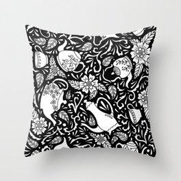 Tea Time Black and White Throw Pillow