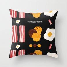 Bacon, Egg & Muffin!! -DARK- Throw Pillow