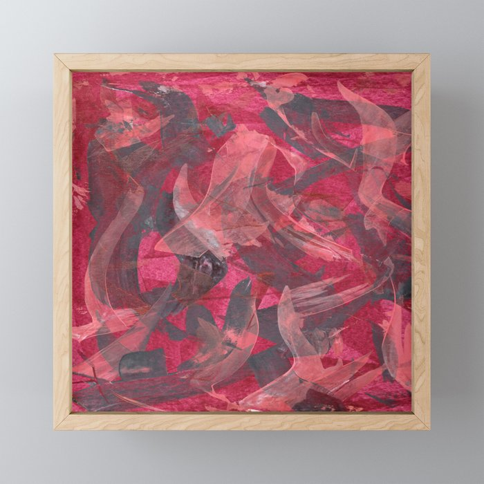 Impetuous, Abstract Art Painting Red Copper Gray Framed Mini Art Print